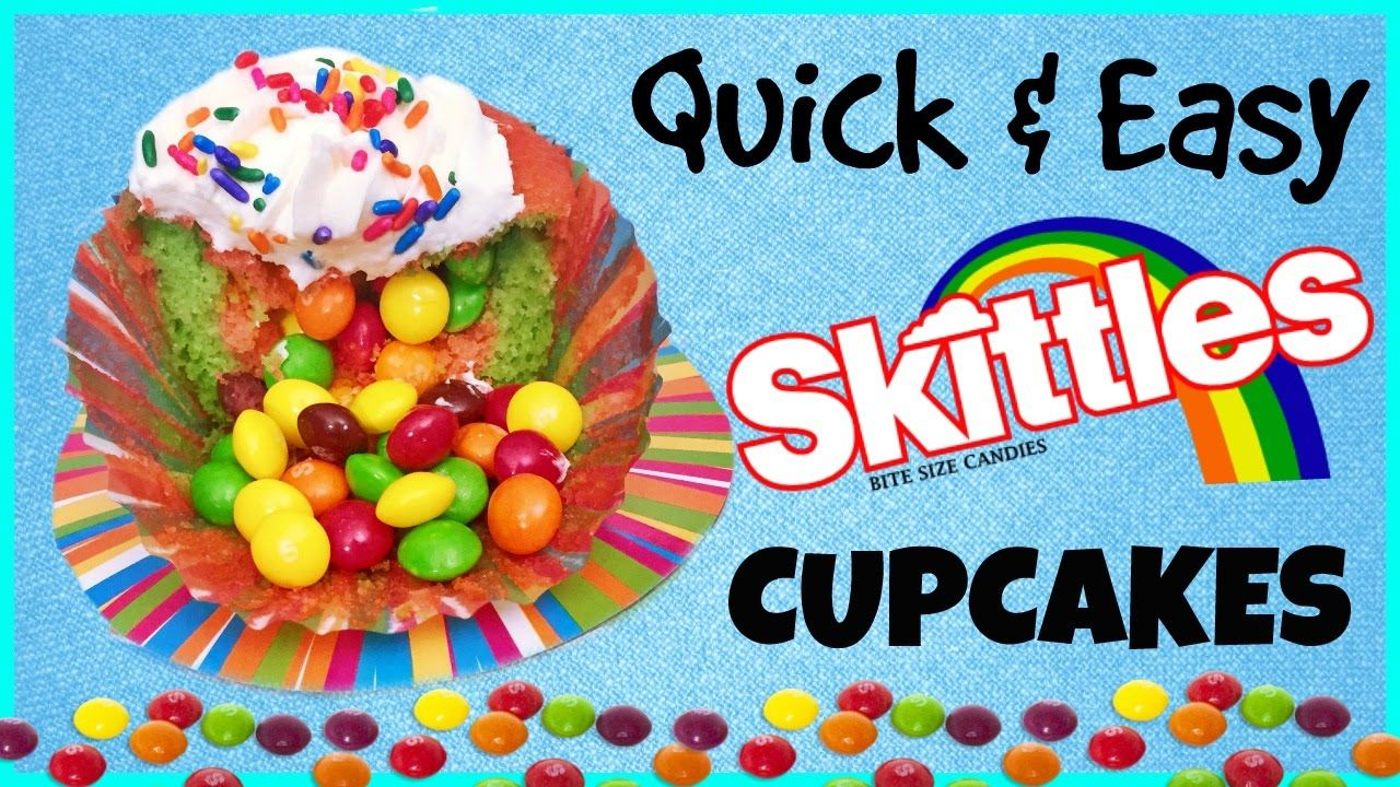 Cupcakes filled with Skittles