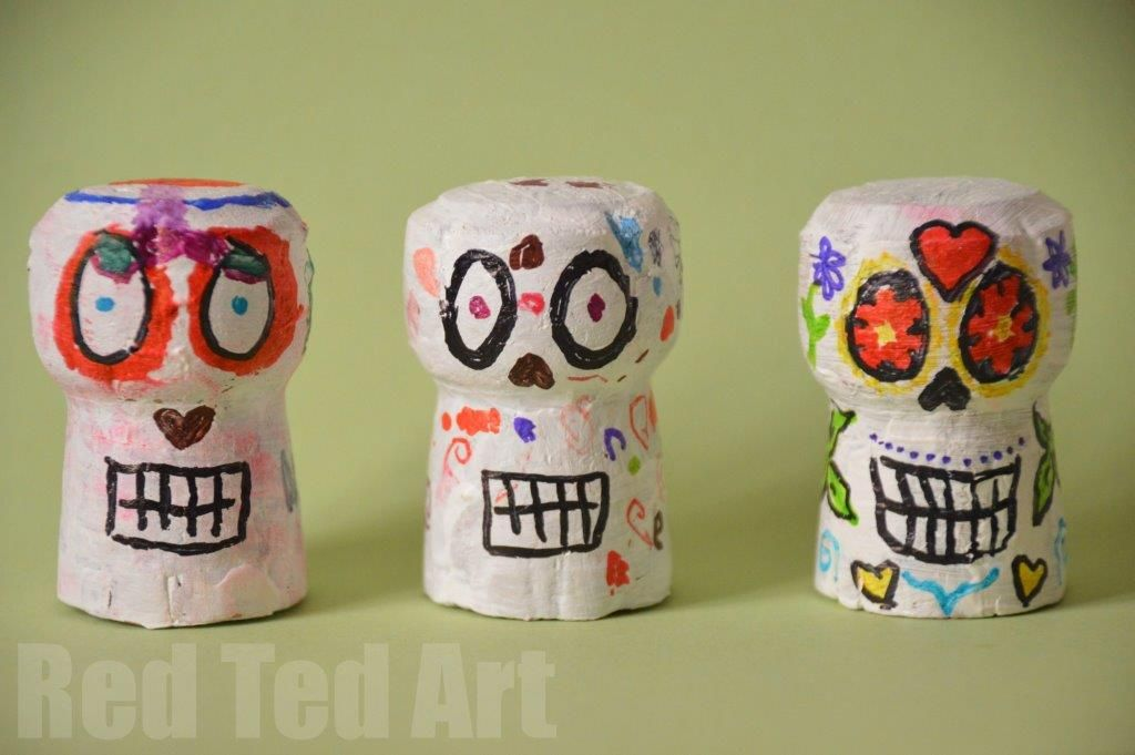 Day of the Dead Skulls Cork crafts White acrylic paint and Cork