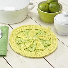 Citrus Splash Pot Holder- Free Sudsy Pattern #7 -Available from WillowYarns.com -Freshen up your kitchen décor with a lemon lime-inspired pot holder.