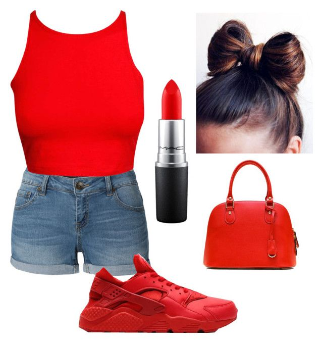 """""""❤️❤️❤️"""" by omgitskaay ❤ liked on Polyvore featuring LE3NO, NIKE and MAC Cosmetics"""