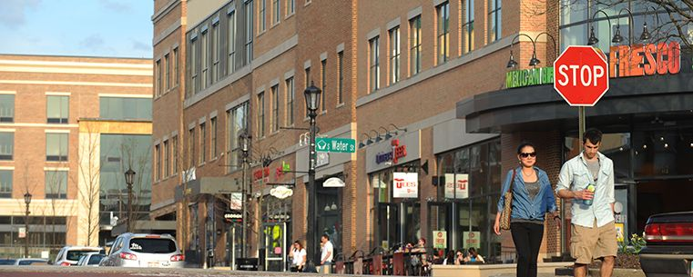 Students enjoy some of the new stores in College Town Kent