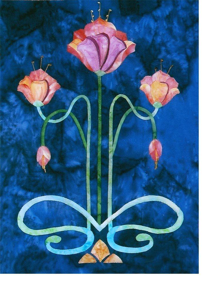 $9.00 - Art Nouveau block, fanning dahlias