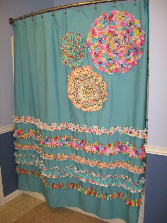 Shower Curtain Custom Made Designer Fabric Ruffles Flowers Aqua
