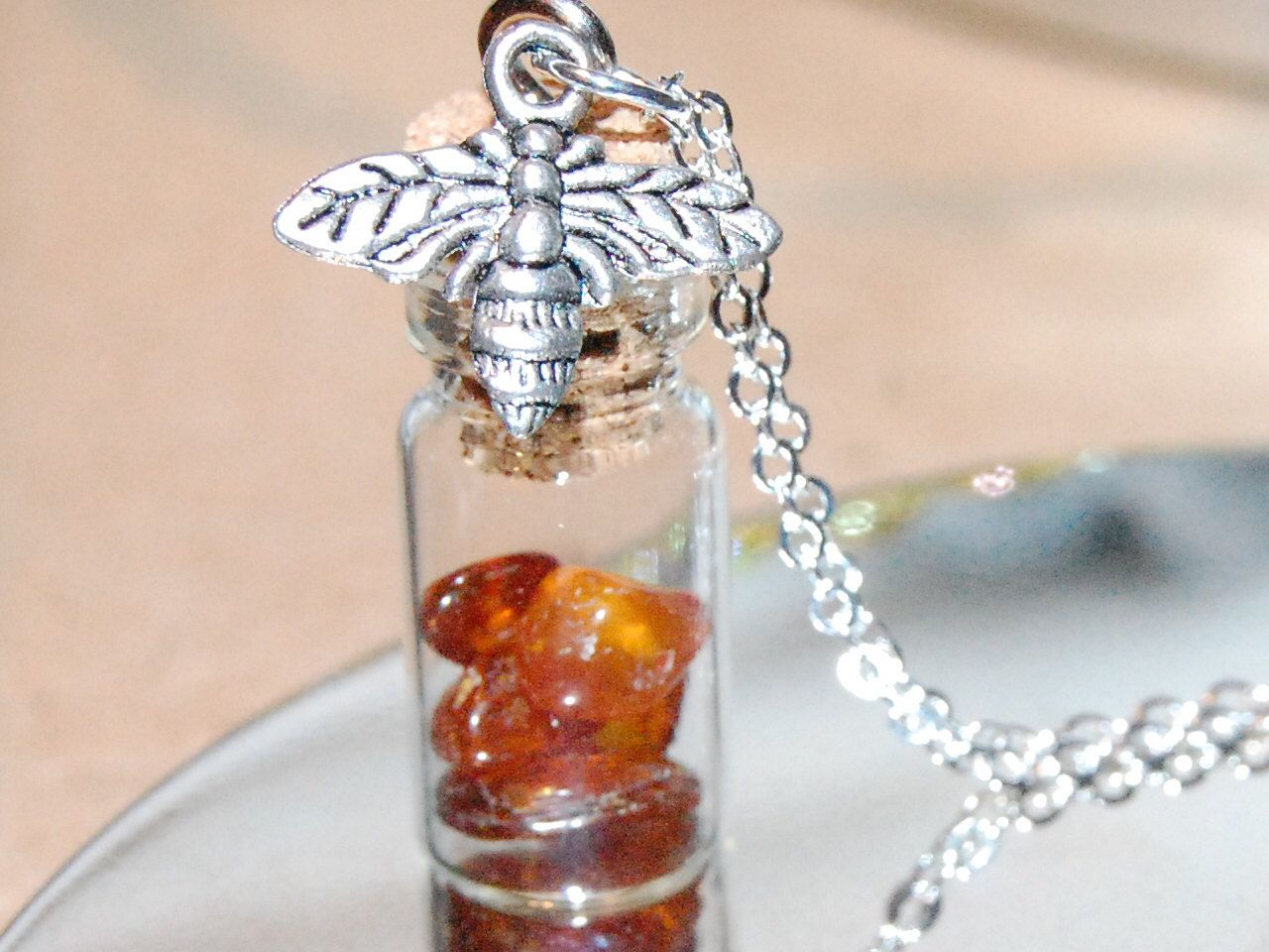 """The Bee Keeper, Natural Baltic Amber, """"Honey Jar"""", Unique Necklaces, Gifts"""