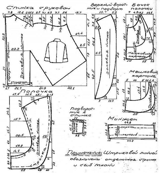 Жакет прямого силуэта, слегка заужен книзу, Выкройка-схема нарядного костюма приводится для 48 размера. Расход ткани на 48 размер при ширине 1,4 м – 1,8 м. Обхват груди 96 см, обхват талии 78 см, обхват бедер 104 см.