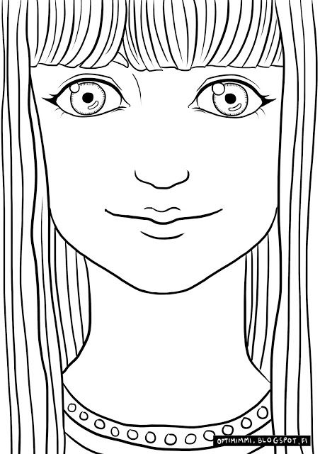OPTIMIMMI | A free coloring page of a lady looking at you / Ilmainen värityskuva naisesta, joka katsoo sinua kohti