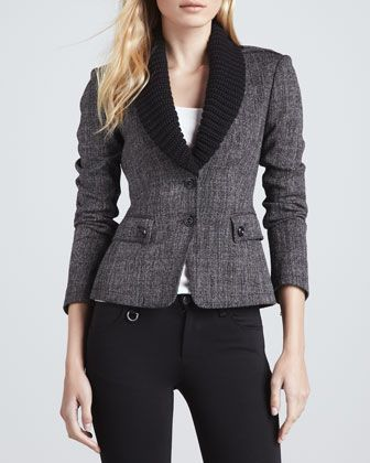 Knit-Collar Leather-Patch Blazer by Burberry Brit at Neiman Marcus.