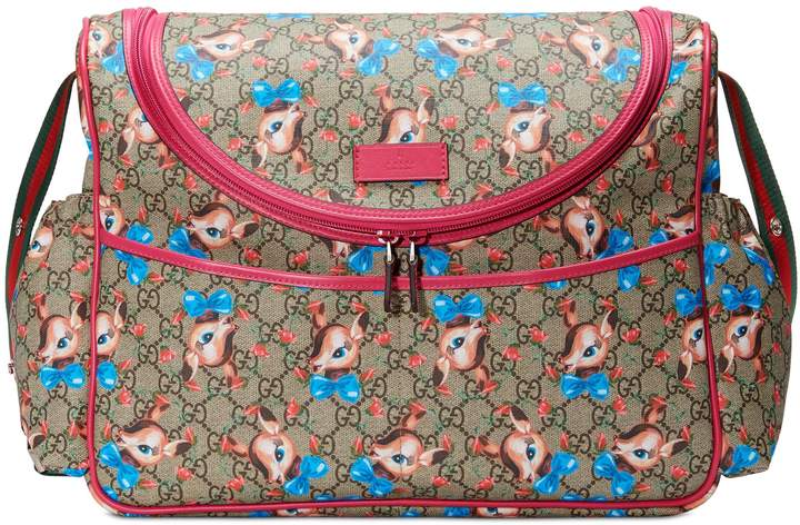 8c0e66311410 Gucci Deer & Rose Bud GG Supreme Canvas Diaper Bag | Products | Fawn ...