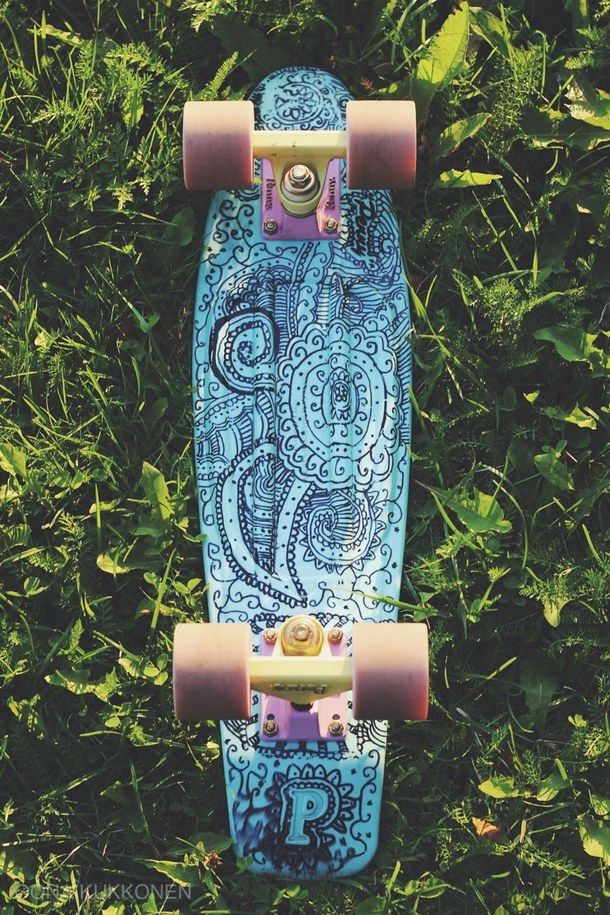 blue, drawing, pastel, penny board, tumblr | Penny boards ...
