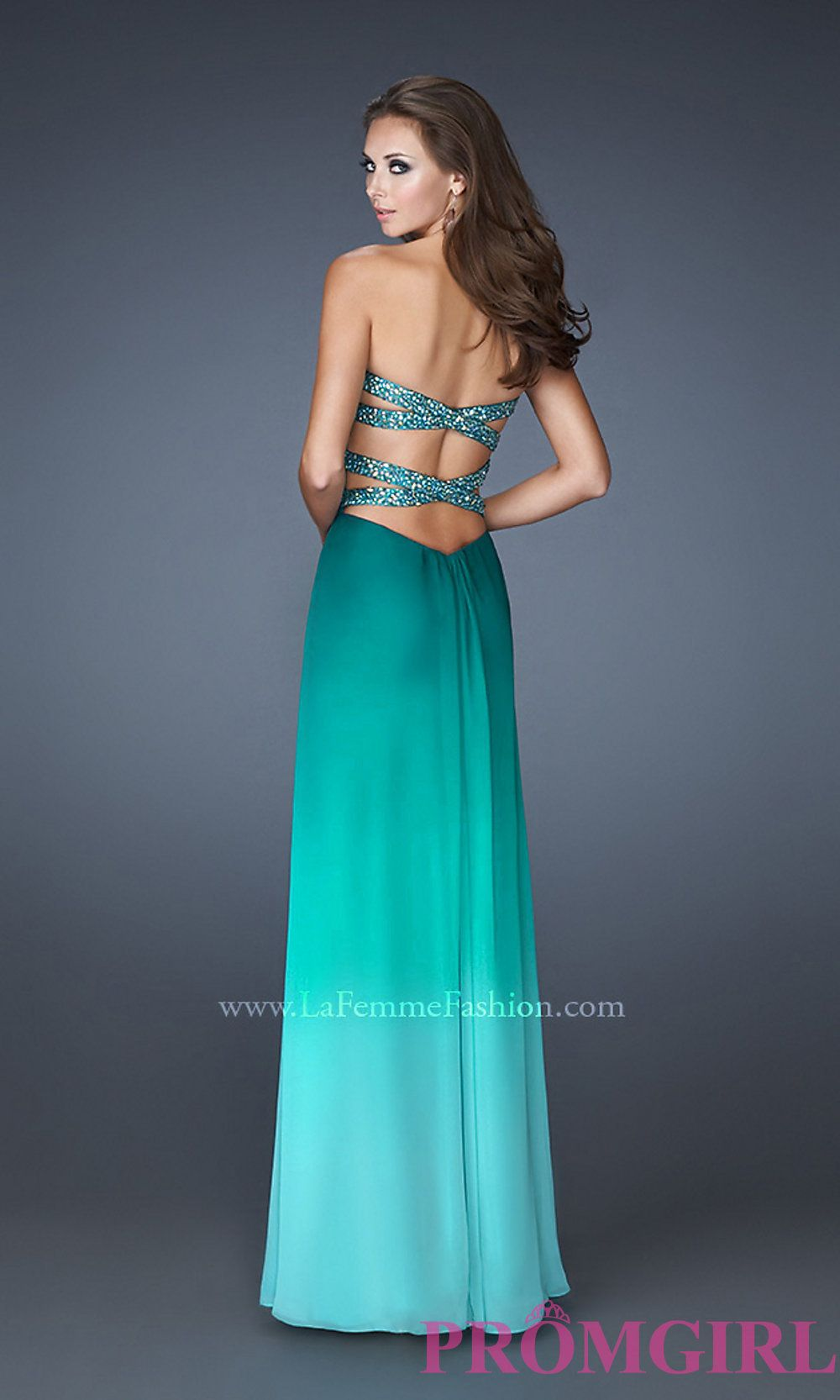 Open Back Prom Dresses, La Femme Strapless Prom Gowns- PromGirl ...