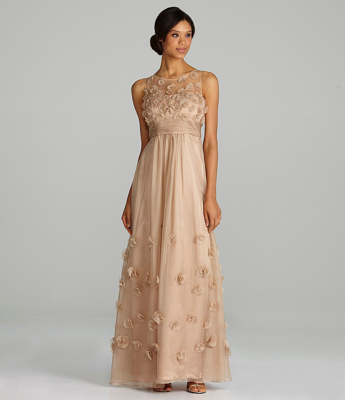 Js collections sleeveless chiffon rosette gown dillards