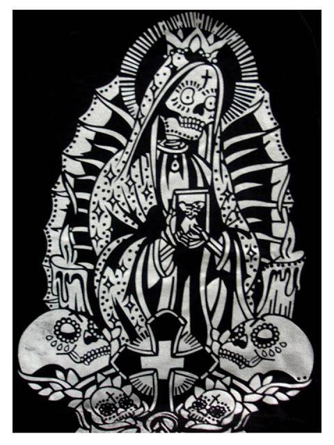 Santa Muerte Colorful Drawings Skull Art Graphic Design Posters