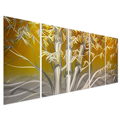 Pure Art Eastern Sunrise Forest Decoration Large Yellow Metal Wall ...