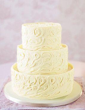 3 Tier White Chocolate Swirl Wedding Cake Weddingheart