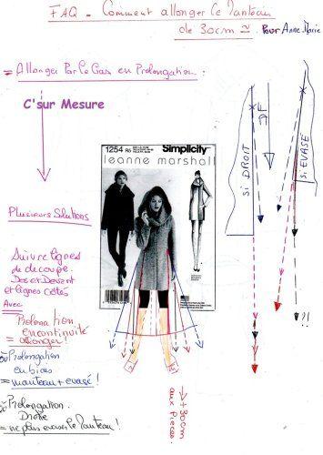 Faq : allonger un patron de manteau, pour Anne-Marie.