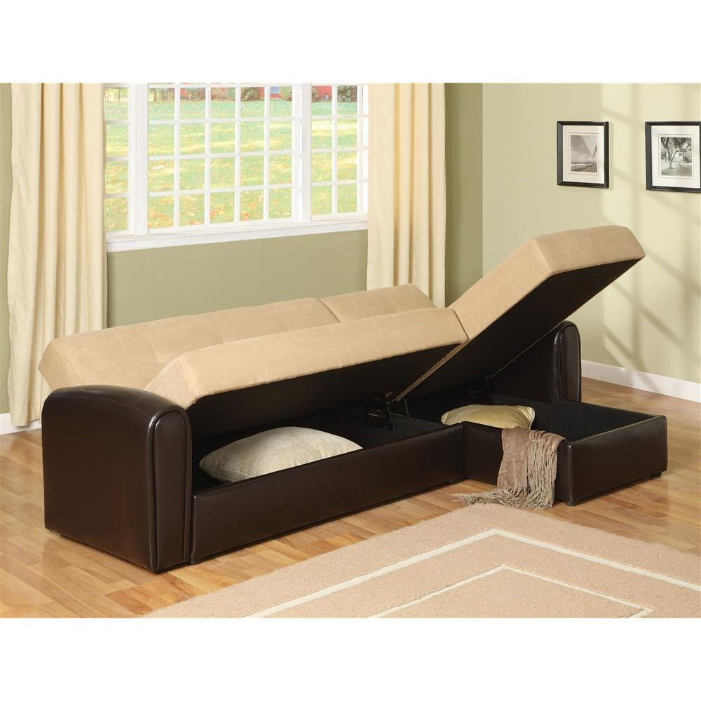 - Logan Right Hand Facing Sleeper Sectional Sofa Bed With Storage