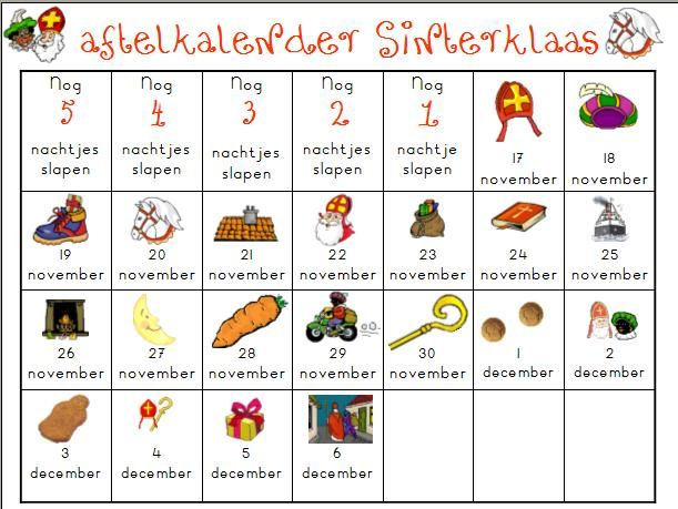 kleurplaten sinterklaas kalender