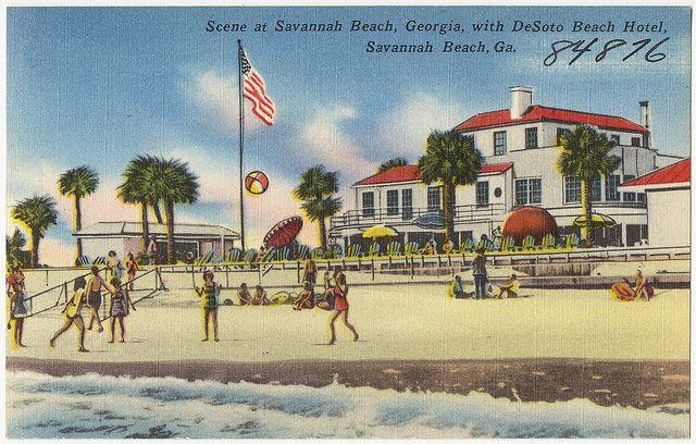 Scene At Savannah Beach Georgia With