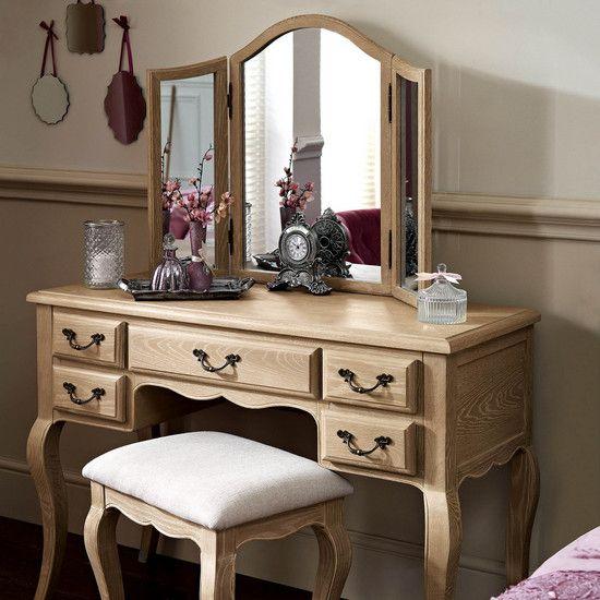 Annabelle Natural Oak Dressing Table, Mirrored Dressing Table Set Oak
