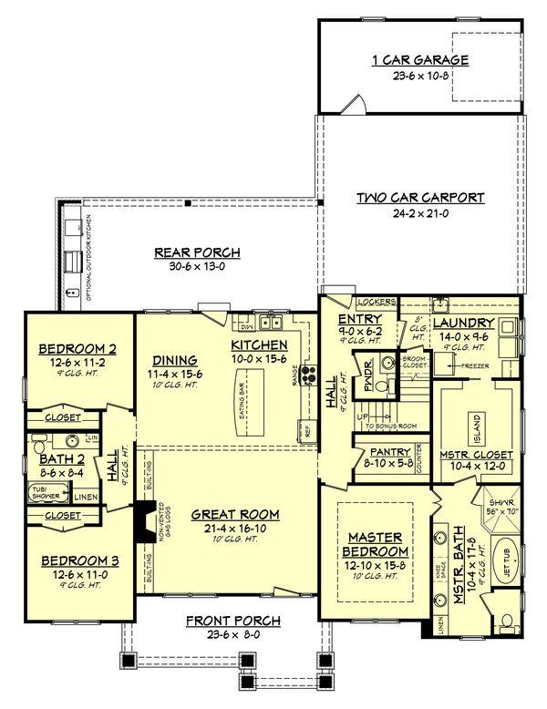 Craftsman Style House Plan - 3 Beds 25 Baths 2151 Sq/Ft Plan #430