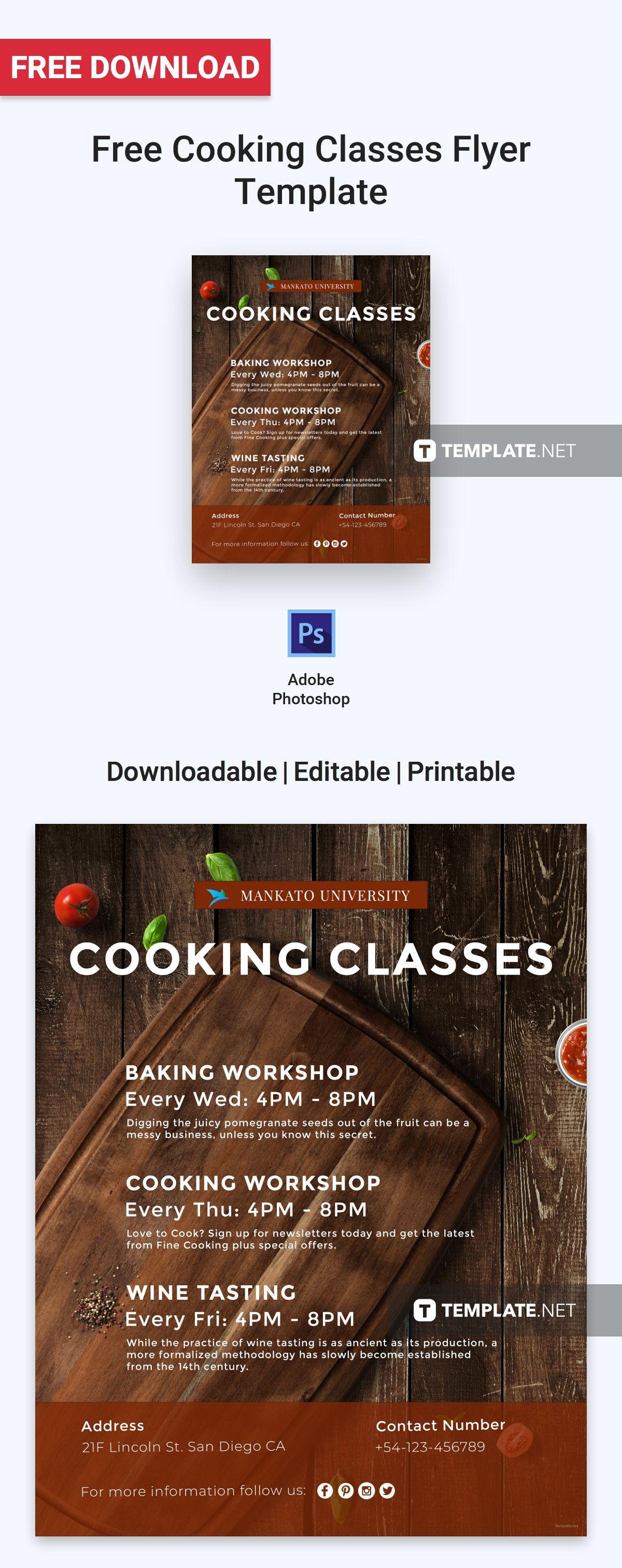free cooking classes flyer flyer templates designs. Black Bedroom Furniture Sets. Home Design Ideas