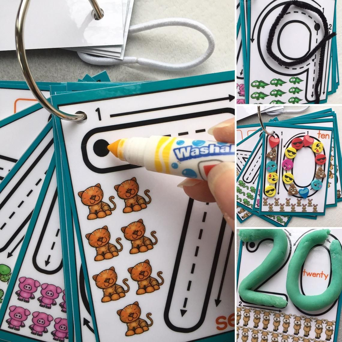 Little Numbers Dry Erase Counting Clip Cards Flash