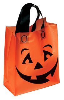 Orange Frosted Pumpkin Shopper  Our smiling pumpkin greets young and old on this 3.0 mil plastic bag with black soft loop handles. Educational safety tips on opposite side of bag with space above to add your custom imprint.  www.logosurfing.com (800) 728-7192