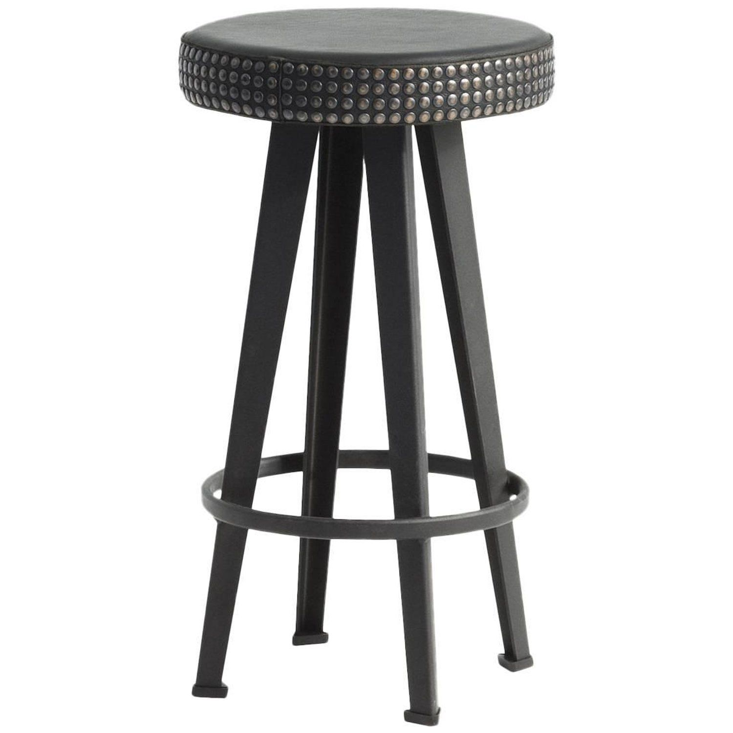 Bar Stud Studded Black Leather And Steel Base Low Stool By Moroso For Diesel Diesel Living Bar Stools High Stool