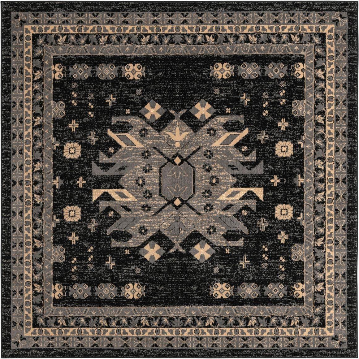 Black 8 X Heris Square Rug Rugs