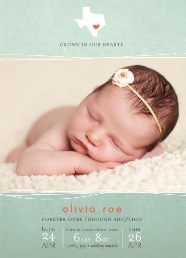 adoption birth announcement - locally grown by R studio Adoption