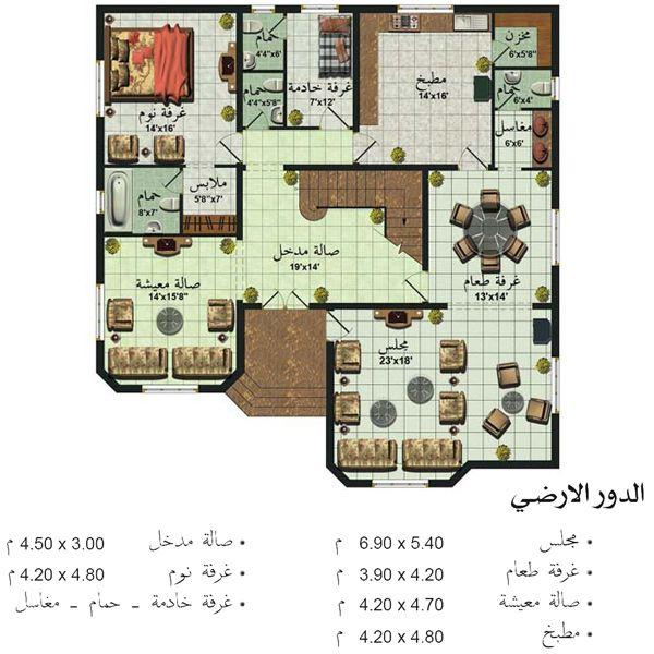 مخططات فلل حديثة Square House Plans My House Plans Family House Plans