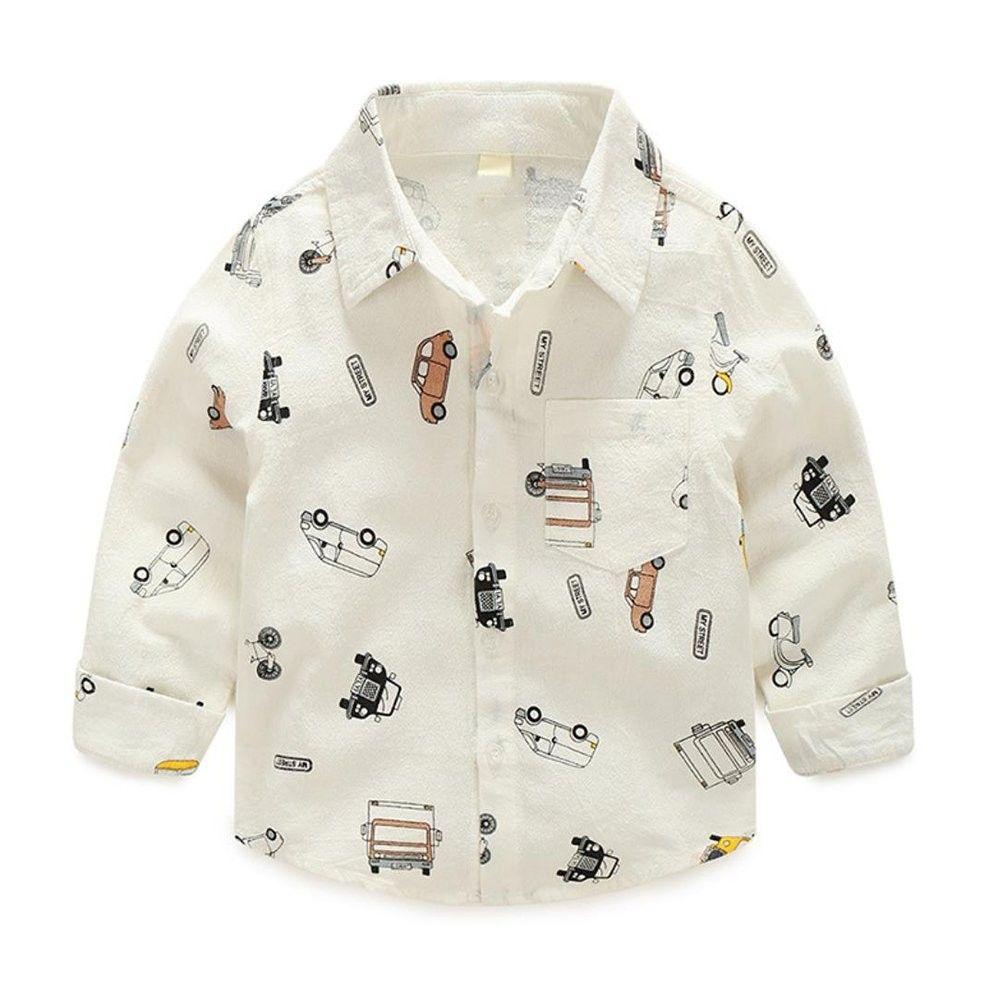 Fashion Boys Stylish Cartoon Car Printed Long Sleeve Shirt Ca189y8lg8g Kids Outfits Baby Boy Shirts Boys Shirts [ 1001 x 1001 Pixel ]