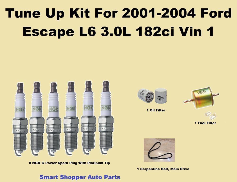Tune Up Kit For 2001 2004 Ford Escape L6 Serpentine Belt Spark Plug Oil Filter Aftermarketproducts Ford Escape Spark Plug Oil Filter