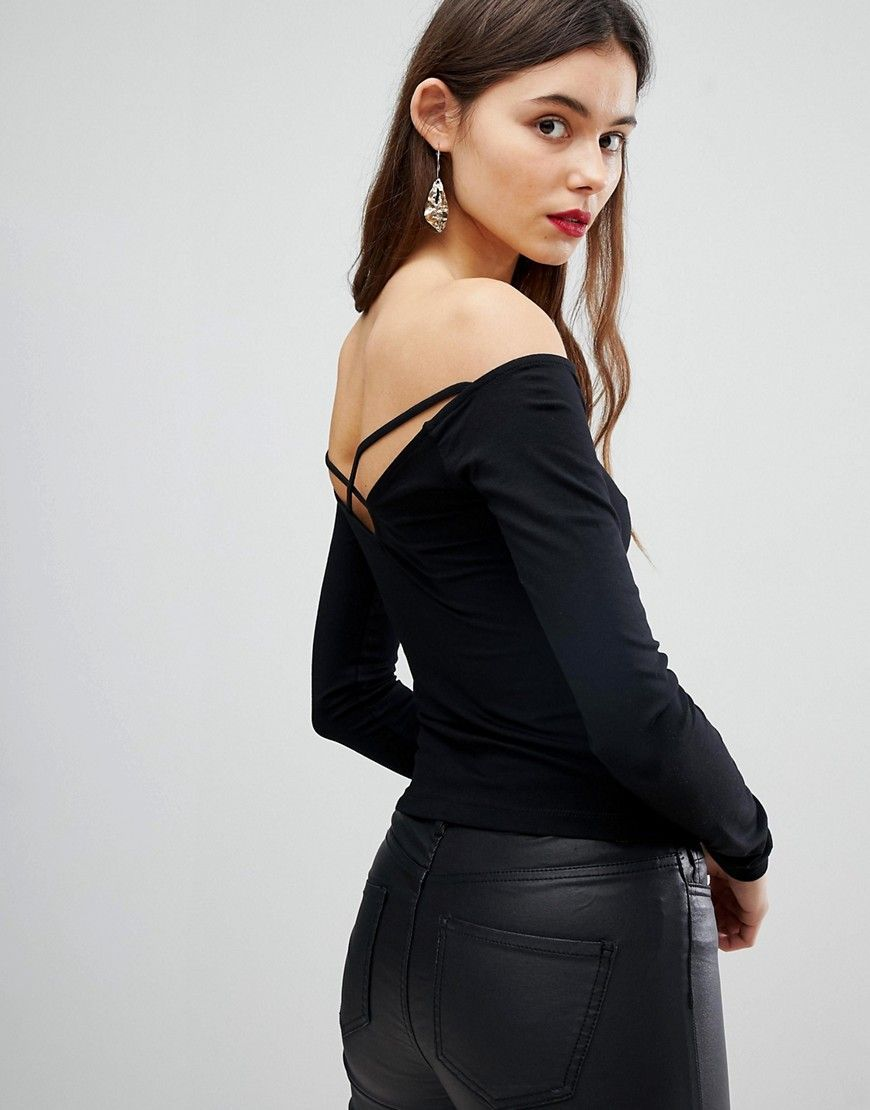 9f5a94ee5f60f3 ASOS TALL Off Shoulder Top with Caging Detail and Long Sleeves - Black