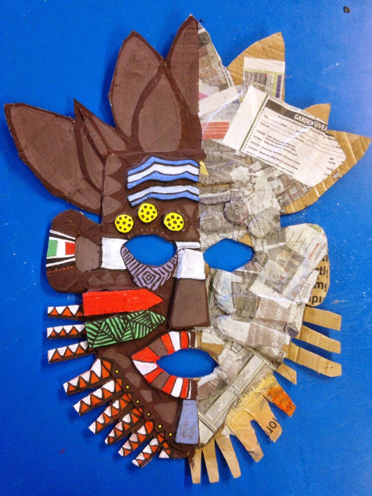 Máscara De Papelão Reciclagem Arte Africana Aula De Arte E