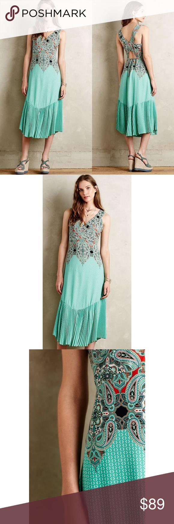 Anthro ornate midi dress with back cutout in my posh picks