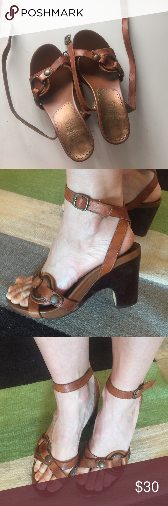 Leather sandals Tribeca Akenneth Cole Pruduction leather sandals with straps going around the ankle . Kenneth Cole Shoes Sandals