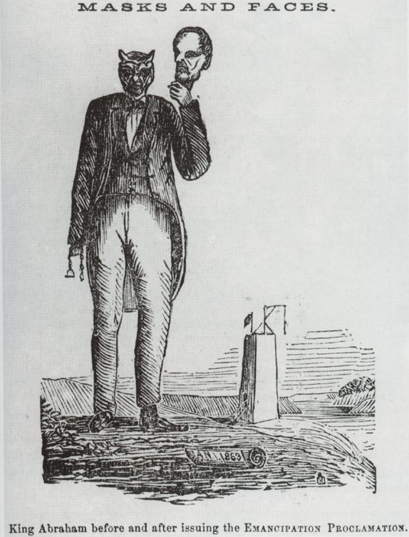 """King Abraham"""" Before and After Issuing the Emancipation Proclamation. HA! 