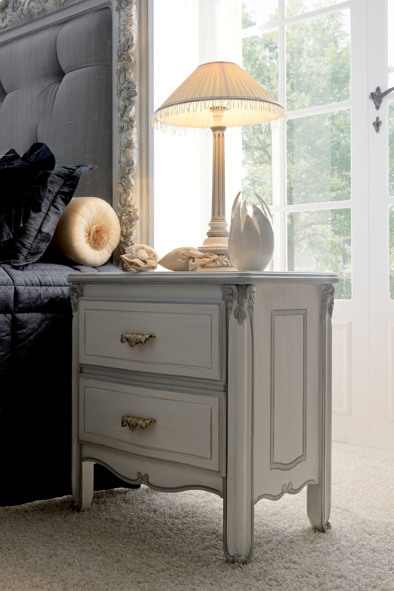 Light Grey Bedside Table: Classic Italian Bedside Table With Drawers And Beautiful