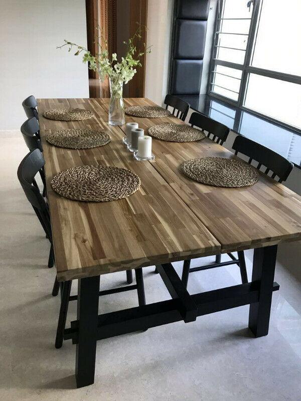 Wood Dining Table Exposed Wood Skogsta Dining Tables Sets Calgary Kijiji In 2020 Dining Table Diy Dining Room Table Large Round Dining Table