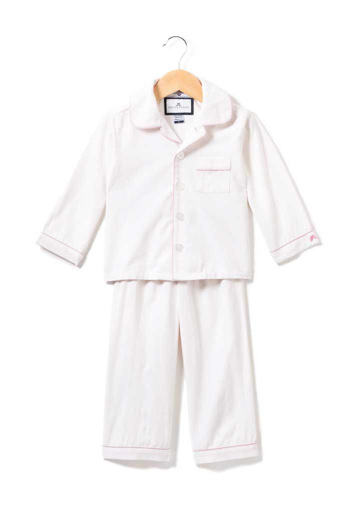 4062d60e5 White Pajama Set with Pink Piping