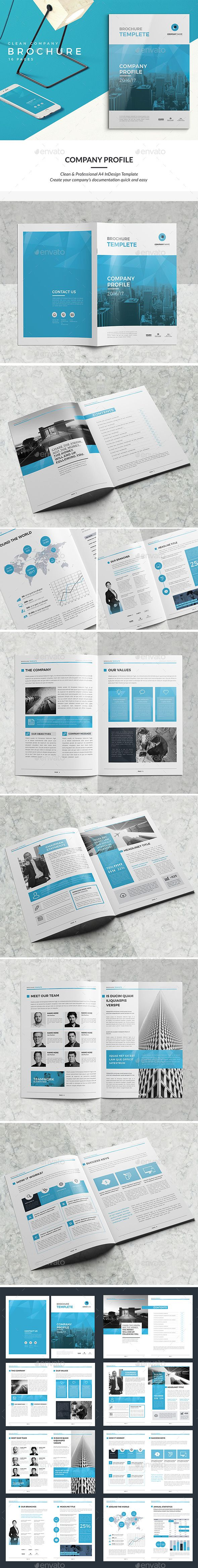 Clean Company Profile Brochure Template InDesign INDD #download ...