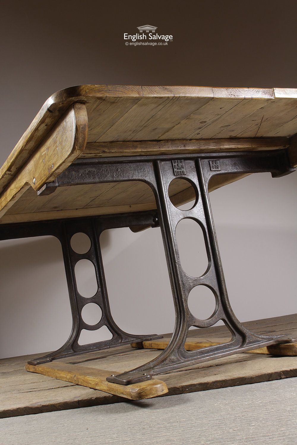 21fda097d615b Salvaged Wooden Table with Cast Iron Legs in 2019