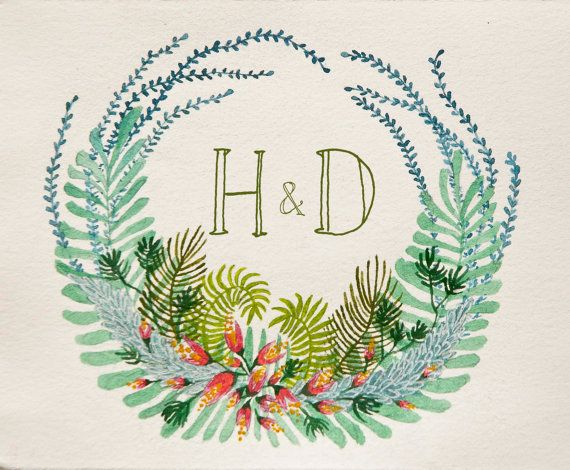 THE LAUREL No. 01 Hand Drawn Floral Wreath with Custom Monogram - flowers, ferns, succulents, woodland, tropical, watercolor, illustration