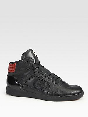 a5c81e5d1bf Gucci Rebound Mid Hi-Top Sneaker -  665 Black leather with red python on  heel. Interlocking G detail at sides Padded back ankle Gucci logo embossed  rubber ...
