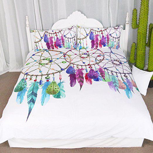 3 Pieces Gemstone Dreamcatcher Duvet Cover Set Chic Watercolor Dreamcatcher Feathers Pattern Quilt Cover Bedspread Bed Duvet Cover Sets Feather Duvet Bed Decor
