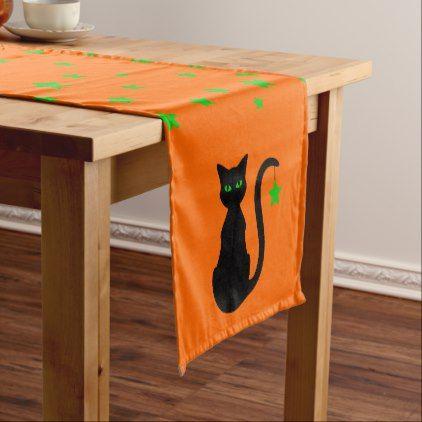 Black Cat Table Runner - halloween decor diy cyo personalize unique