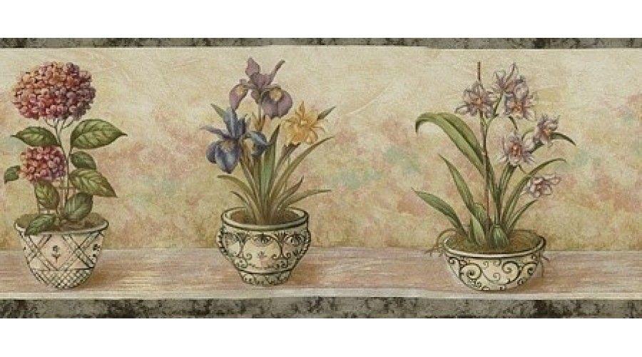 Grey Floral Pots Wallpaper Border $12.69