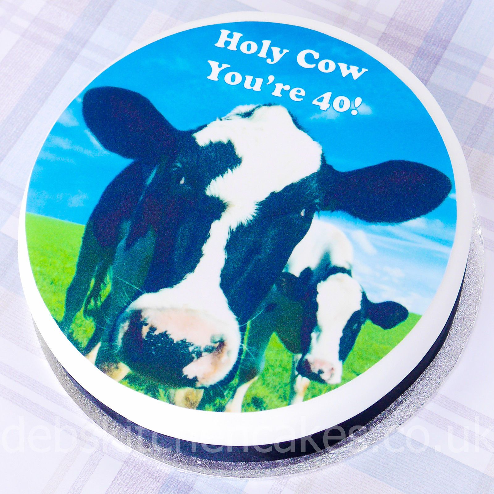 40th birthday cow cake topper edible icing or wafer cake