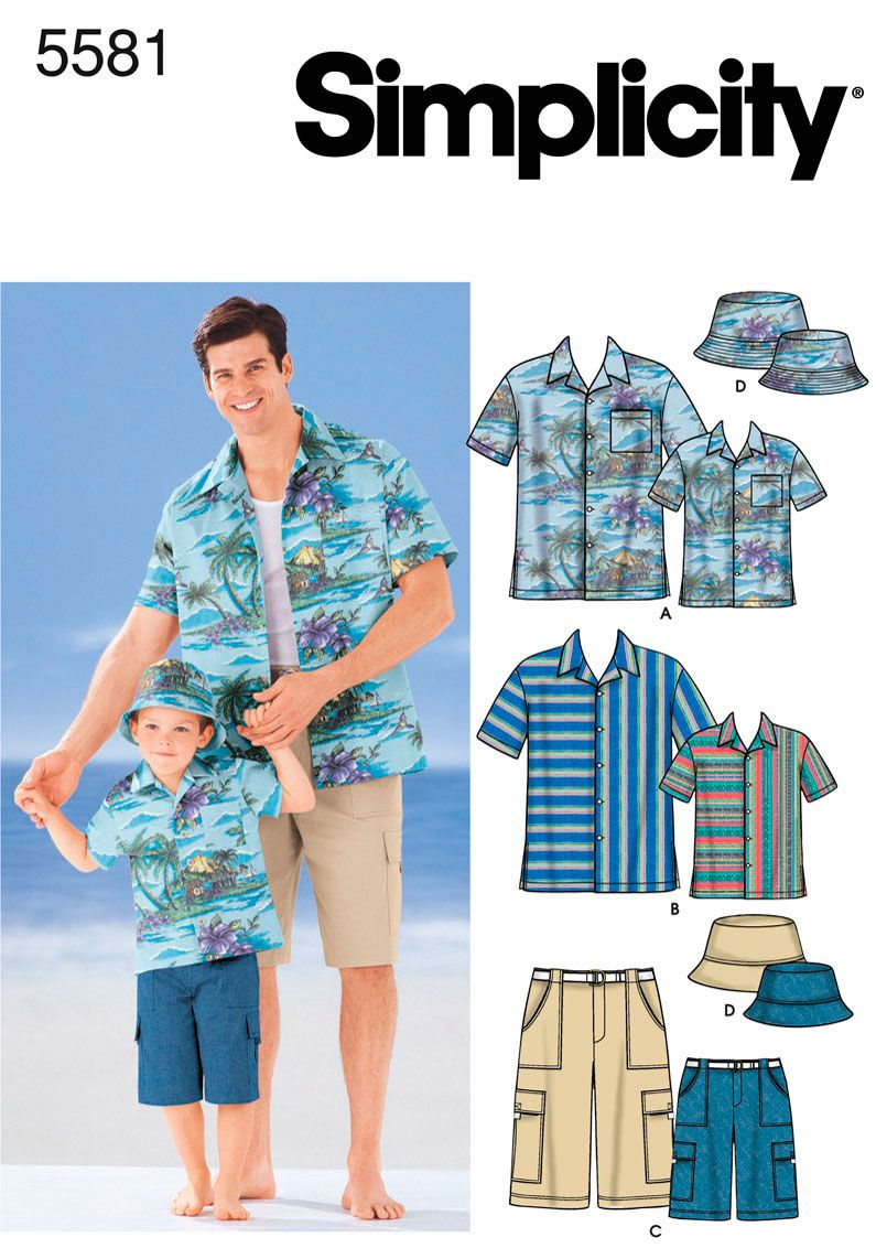 Boys and Men Shirt, Shorts Sewing Pattern 5581 Simplicity ~ Need to ...